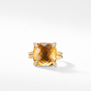 Ring with Citrine and Diamonds in 18K Gold alternative image