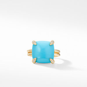 Ring with Turquoise and Diamonds in 18K Gold alternative image