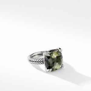 Ring with Green Orchid and Diamonds