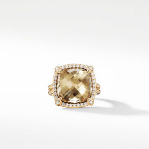 Chatelaine Pave Bezel Ring with Champagne Citrine and Diamonds in 18K Gold, 14mm alternative image