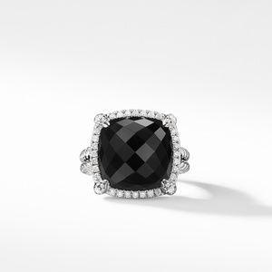 Chatelaine Pave Bezel Ring with Black Onyx and Diamonds, 14mm alternative image