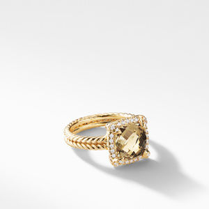 Châtelaine Pave Bezel Ring with Champagne Citrine and Diamonds in 18K Gold mm