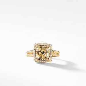 Châtelaine Pave Bezel Ring with Champagne Citrine and Diamonds in 18K Gold mm alternative image