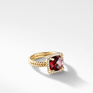 Chatelaine Pave Bezel Ring with Garnet and Diamonds in 18K Gold, 9mm