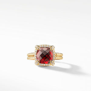 Chatelaine Pave Bezel Ring with Garnet and Diamonds in 18K Gold, 9mm alternative image