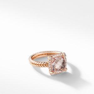 Chatelaine Pavé Bezel Ring in 18K Rose Gold with Morganite