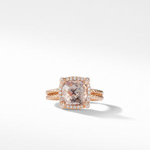 Chatelaine Pavé Bezel Ring in 18K Rose Gold with Morganite alternative image