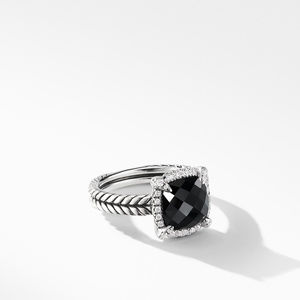 Chatelaine® Pave Bezel Ring with Black Onyx and Diamonds mm