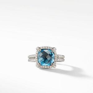 Chatelaine Pave Bezel Ring with Hampton Blue Topaz and Diamonds, 9mm alternative image
