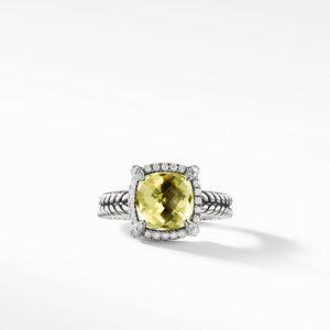Chatelaine Pave Bezel Ring with Lemon Citrine and Diamonds, 9mm alternative image