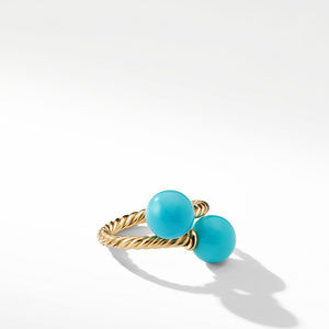 Bypass Ring with Turquoise in 18K Gold