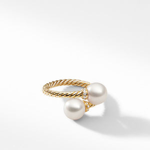 Bypass Ring with Pearls and Diamonds in 18K Gold