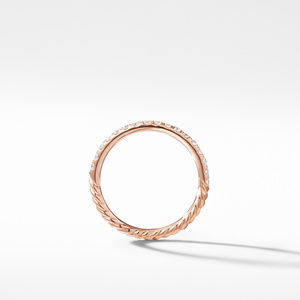 Cable Pavé Band Ring in 18K Rose Gold with Diamonds alternative image