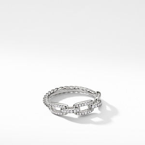 Stax Single Row Pave Chain Link Ring with Diamonds in 18K White Gold, 4.5mm