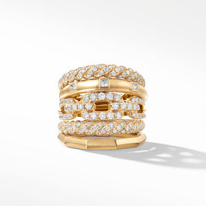 Stax Five Row Ring with Diamonds in 18K Gold, 21mm alternative image