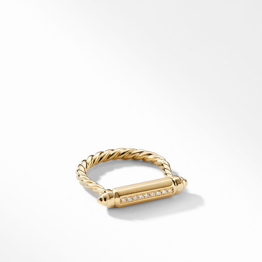 Barrels Ring with Diamonds in 18K Gold