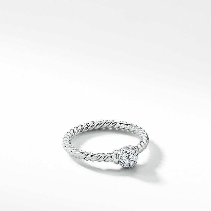 Solari Station Ring with Diamonds in 18K White Gold