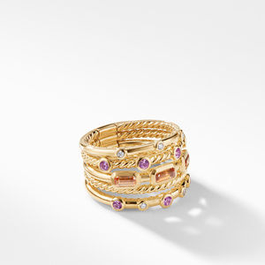 Novella Stack Ring in Apessartite Garnet and Pink Sapphire with Diamonds