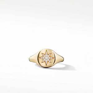 Cable Collectibles Compass Mini Pinky Ring in 18K Gold with Diamonds alternative image