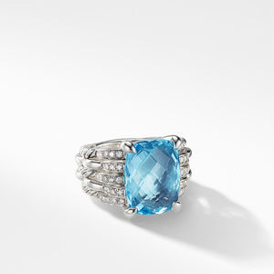Tides Statement Ring with Blue Topaz and Diamonds