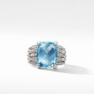 Tides Statement Ring with Blue Topaz and Diamonds alternative image