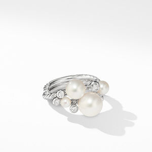Pearl Cluster Ring with Diamonds
