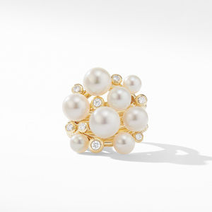Large Pearl Cluster Ring in 18K Yellow Gold with Diamonds alternative image