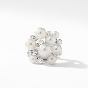 Large Pearl Cluster Ring with Diamonds alternative image