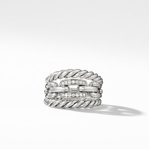 Wellesley Link Three-Row Ring with Diamonds alternative image