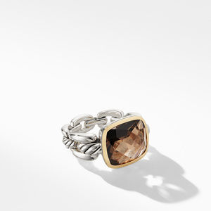 Wellesley Link Statement Ring with 18K Gold and Smoky Quartz