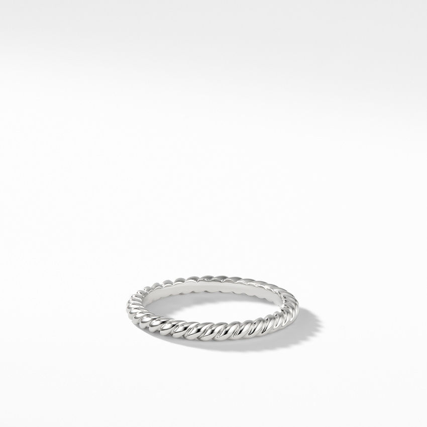 DY Unity Cable Band Ring in Platinum