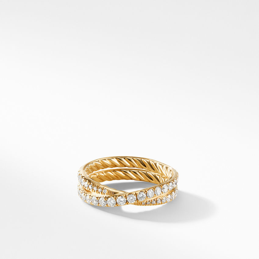 DY Crossover Band Ring in 18K Yellow Gold with Pavé Diamonds