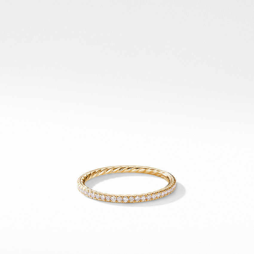 DY Eden Band Ring in 18K Yellow Gold with Pavé Diamonds