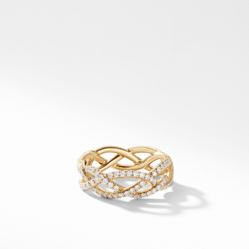 DY Wisteria Band Ring in 18K Yellow Gold with Pavé Diamonds
