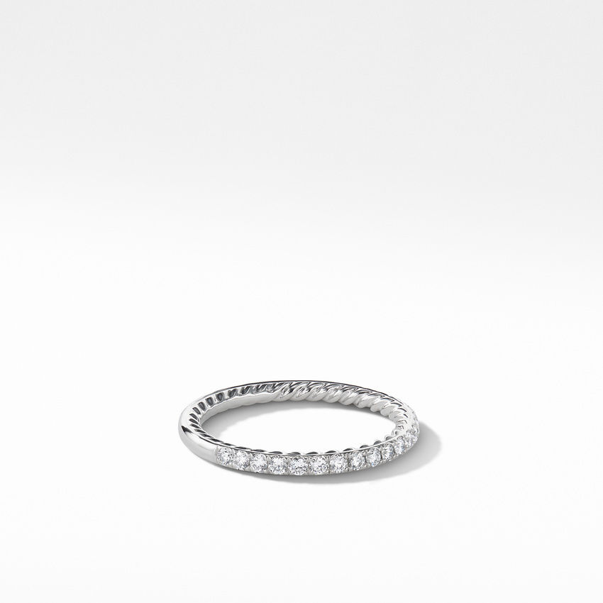 DY Eden Partway Eternity Band Ring in Platinum with Pavé Diamonds