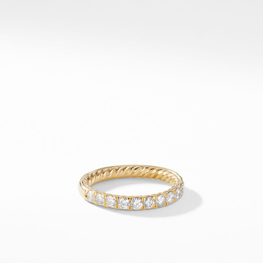 DY Eden Partway Eternity Band Ring in 18K Yellow Gold with Pavé Diamonds