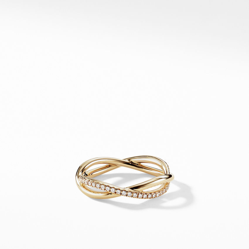 DY Lanai Band Ring in 18K Yellow Gold with Pavé Diamonds