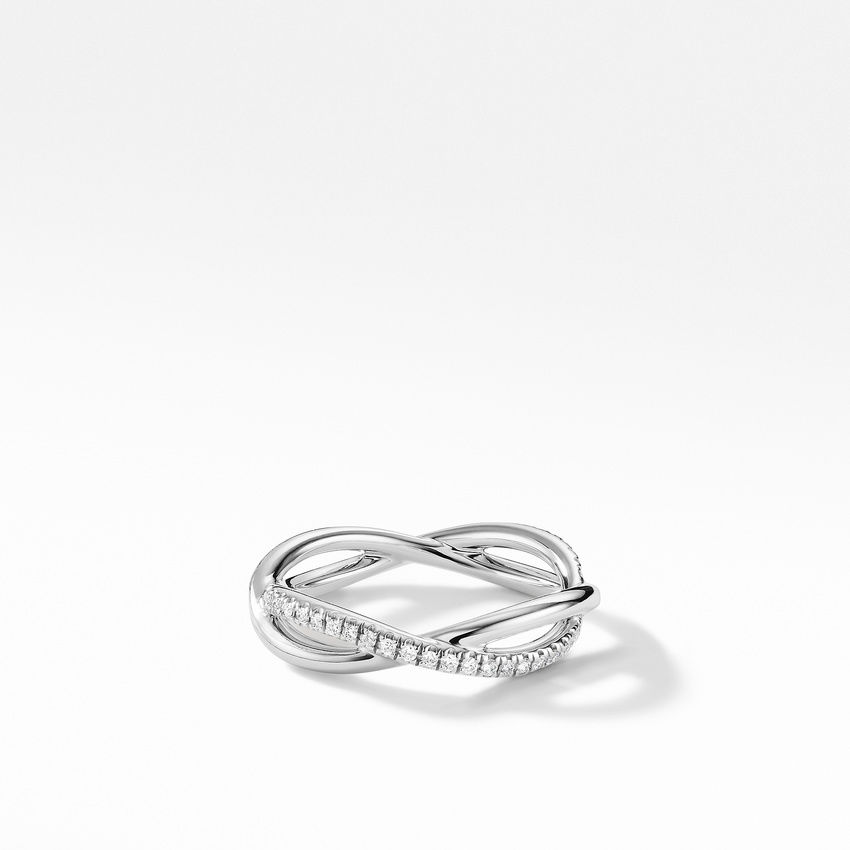 DY Lanai Band Ring in Platinum with Pavé Diamonds