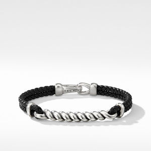 Cable ID Black Leather Bracelet