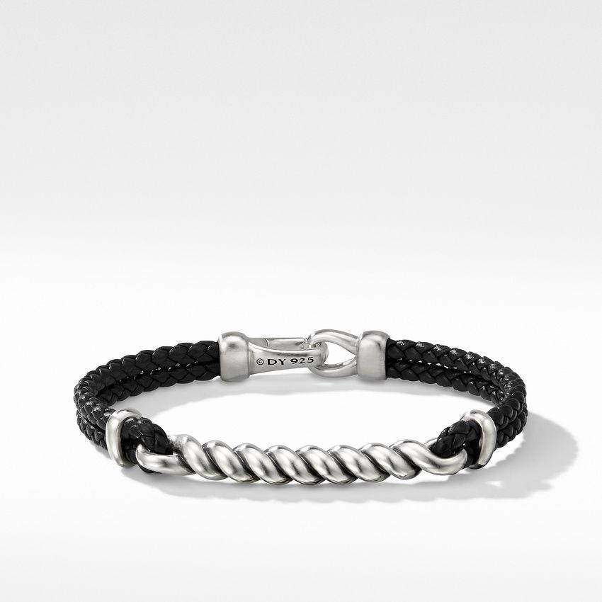 Cable ID Black Leather Bracelet