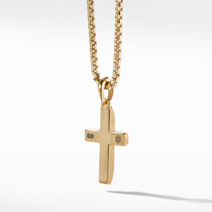 Faceted Cross Pendant in 18K Yellow Gold with Meteorite alternative image