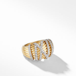 Helena Dome Ring in 18K Yellow Gold with Diamonds