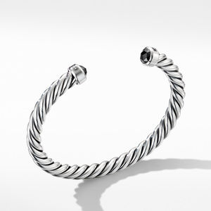 Cable Classic Cuff Bracelet with Black Diamonds