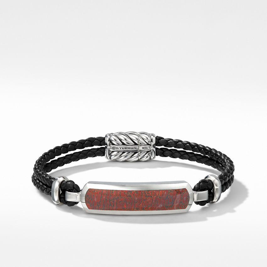 Exotic Stone Bar Station Leather Bracelet with Red Agate