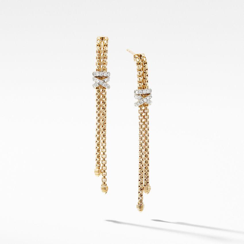 Helena Box Chain Earrings in 18K Yellow Gold with Diamonds