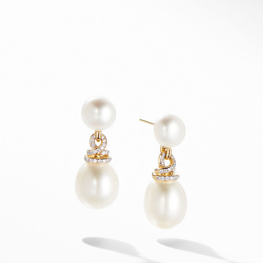 Helena Pearl Drop Earrings in 18K Yellow Gold with Diamonds