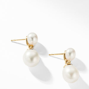Helena Pearl Drop Earrings in 18K Yellow Gold with Diamonds alternative image