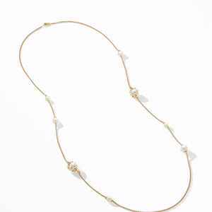 Helena Pearl Station Necklace in 18K Yellow Gold with Diamonds alternative image