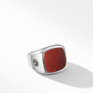 Exotic Stone Signet Ring with Red Agate