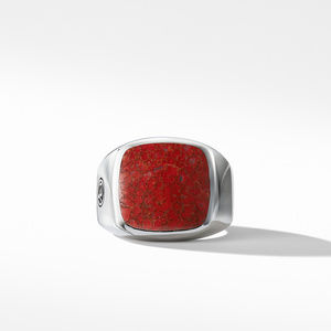 Exotic Stone Signet Ring with Red Agate alternative image